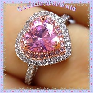 🆕💖4 Ct Pink Heart Sapphire Double Halo Ring SS💖